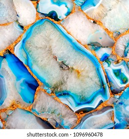 Aquatic Azure Agate texture with golden veins. Cyan Quartz background. Refreshing look material of ceramic tile decoration fo Bathrooms.