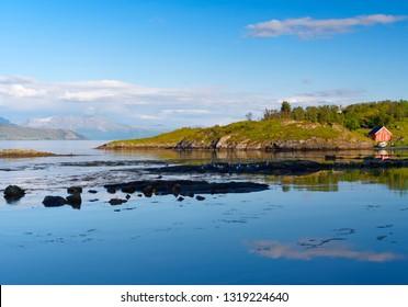 Aquatorium of  small fishing harbor on Senja Island in Norway.