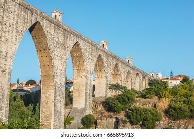 """The Aqueduct Aguas Livres (Portuguese: Aqueduto das Aguas Livres """"Aqueduct of the Free Waters"""") is a historic aqueduct in the city of Lisbon, Portugal"""