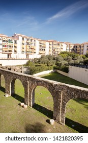 aqueduct built by the Romans  located in the centre of the town in almunecar spain