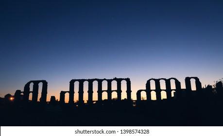 Aqueduct of Merida at nightfall