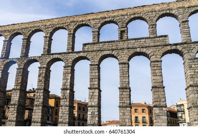 The Aqueduct in Segovia, Spain is one of the best-preserved elevated Roman aqueducts.