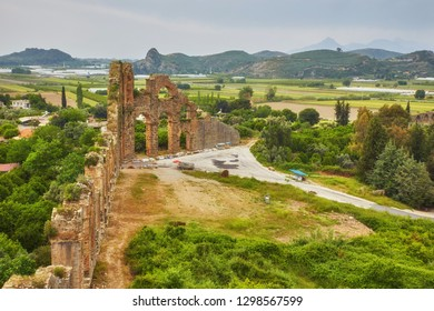 Aqueducts in the ancient city of Aspendos in Antalya, Turkey.