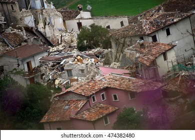 Aquila, Italy 17 april 2009: Cities and homes destroyed after  the earthquake that hit central Italy during the L'Aquila earthquake in April 2009.