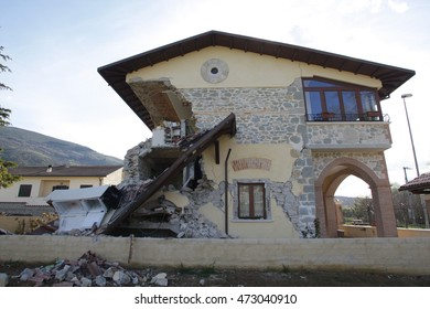 Aquila, Italy,17 april 2009: Houses destroyed by the earthquake that hit central Italy during the L'Aquila earthquake in April 2009.