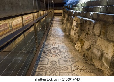 Aquileia, Italy (24th May 2019) - The archaeological  excavations that brought out ancient christian mosaics of the IV century