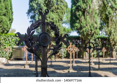 Aquileia, Italy (24th May 2019) - The original old cemetery behind the Basilica where italian soldiers of WW1 were buried