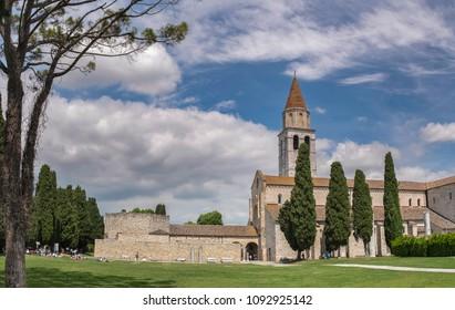 AQUILEIA, ITALY - DECEMBER 10, 2015: Early christian basilica and baptistery in Aquileia, Friuli, Venezia Giulia