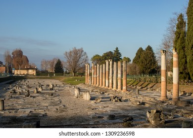 AQUILEIA, ITALY - DECEMBER 26, 2018: View of the archaeological area of Aquileia, Italy.