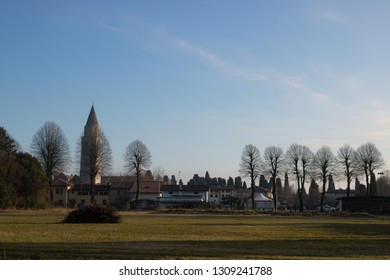 AQUILEIA, ITALY - DECEMBER 26, 2018: buildings and nature in Aquileia, Italy.