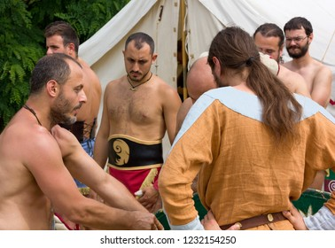 AQUILEIA, Italy - June 22, 2014: A group of reenactors just before the exhibition at the local annual ancient roman festival