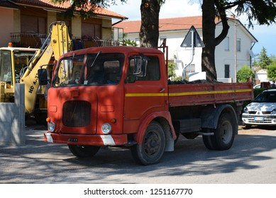 Aquileia, ITALY - JUNE 25, 2013: Old Fiat 682 popular Italian 1960s, 1970s, 1980s truck on the street.
