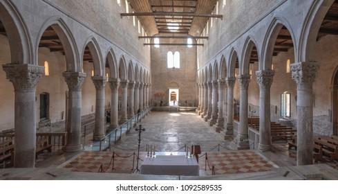 AQUILEIA, ITALY - MAY 16, 2018: Interior of early christian basilica in Aquileia with famous mosaics, Friuli, Venezia Giulia
