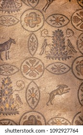 AQUILEIA, ITALY - MAY 16, 2018: Famous mosaics in Aquileia, Friuli, Venezia Giulia