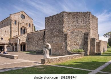 AQUILEIA, ITALY - MAY 16, 2018:Baptistery and early christian basilica in Aquileia, Friuli, Venezia Giulia