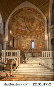 AQUILEIA,ITALY - SEPTEMBER 15,2018 - View at the Interior in Basilica of Santa Maria Assunta in Aquileia. Aquileia is an ancient Roman city in Italy.