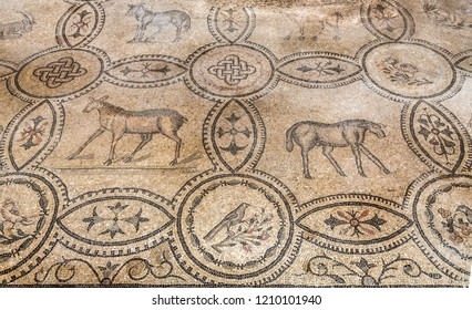 AQUILEIA,ITALY - SEPTEMBER 15,2018 - View of mosaics in Basilica of Santa Maria Assunta in Aquileia. Aquileia is an ancient Roman city in Italy.