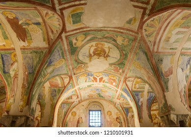 AQUILEIA,ITALY - SEPTEMBER 15,2018 - View at the painted interior in Basilica of Santa Maria Assunta in Aquileia. Aquileia is an ancient Roman city in Italy.