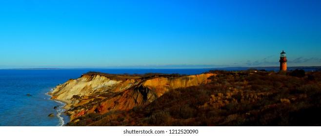 The Aquinnah Cliffs, known as the Gay Head Cliffs, are located in the Martha's Vineyard town of Aquinnah.