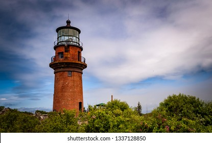 Aquinnah, Massachusetts, USA -5th of July 2016. Gay Head Light  historic lighthouse in Aquinnah on Martha's Vineyard sits on a hilltop.First in the U.S. to receive a first order Fresnel lens in 1856.