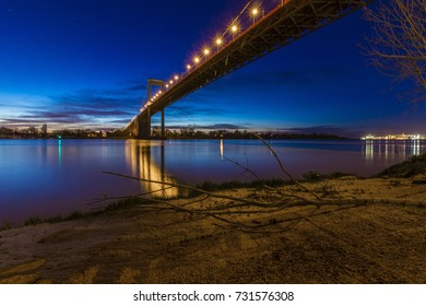 Aquitaine bridge of Bordeaux, France, by night.