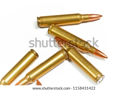 AR 15 full metal jacket ammunition isolated on white