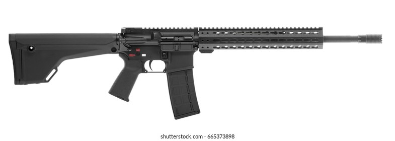 AR 15 Rifle Isolated on white background right