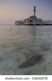 Ar Rahmah Mosque by the Red Sea at Jeddah, Saudi Arabia. Slow shutter, motion blur.