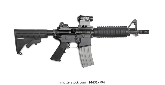 """AR-15 10,5"""" (M4A1 CQBR, Mk18 Mod.0) tactical carbine with the micro collimator (red dot) sight. Isolated on a white background. Weapon series."""