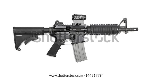 "AR-15 10,5"" (M4A1 CQBR, Mk18 Mod.0) tactical carbine with the micro collimator (red dot) sight. Isolated on a white background. Weapon series."