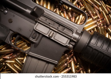 AR15 with .223 or 5.56 x 45mm NATO xm193 ammunition.