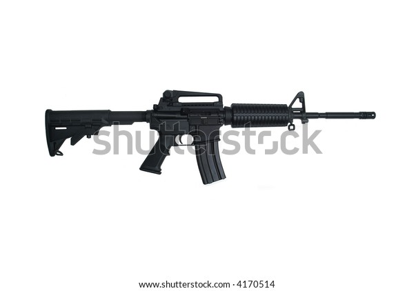 AR-15 Assault rifle with iron sights isolated on white