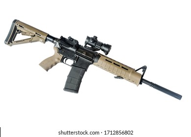 An AR-15 assault rifle on a white background