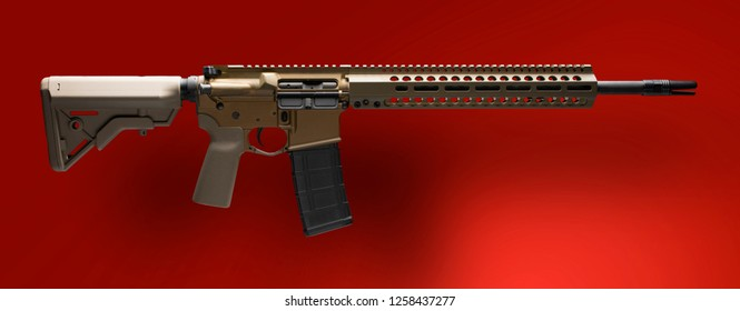 AR-15 on a red background with a light shadow behind