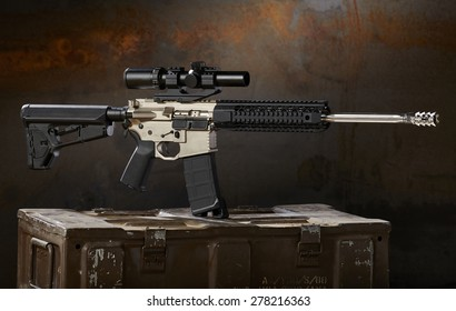 ar15 rifle with ammo cans