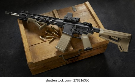 ar15 rifle on wood crate