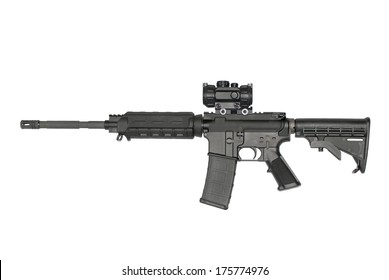 An AR-15 semi-automatic rifle, with optic,  isolated on white.