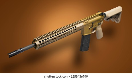 AR-15 with tan furniture on a brown background with shadow