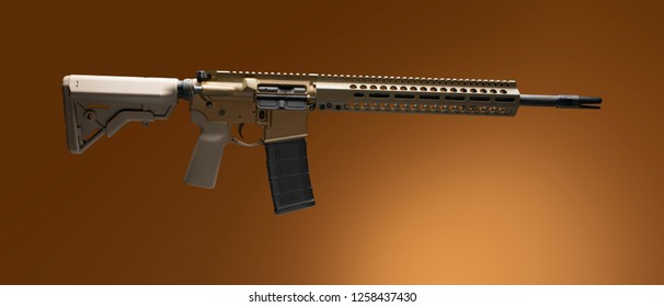 AR-15 with tan stock and pistol grip on a brown background