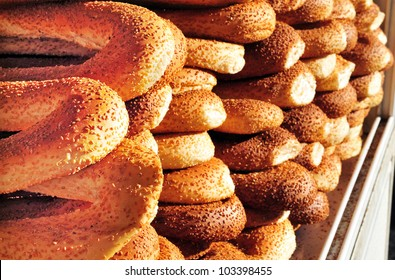 Arab bagels on display in old Jerusalem Market.