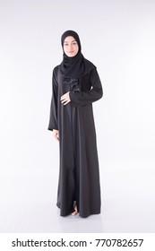 Arab beautiful woman on gray backgound