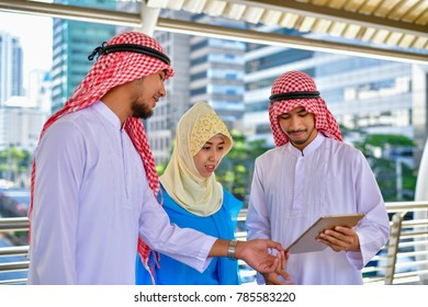 Arab Business Concepts, Arab business people are working in the business district.