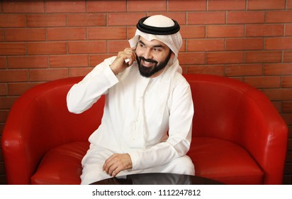 Arab Business Man Smiling Speaking in Phone