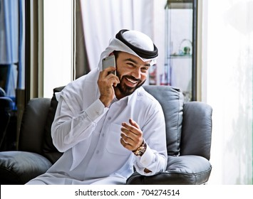 Arab Business Man Using Smart Phone ( technology Smile Happy )