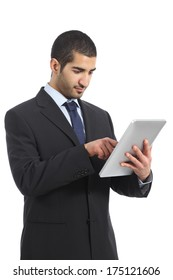 Arab business man working using a tablet isolated on a white background