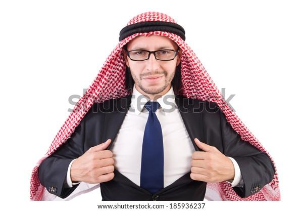 Arab businessman in eyeglasses  isolated on white