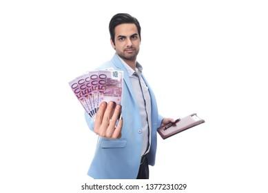 Arab Businessman holding euro money.  isolated on white background.
