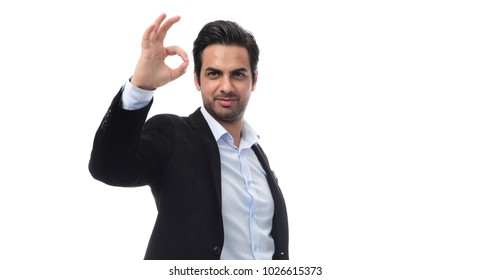 Arab businessman showing thumbs up. isolated on white