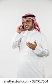 Arab businessman talking on mobile