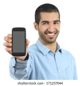 Arab casual man showing a mobile phone application isolated on a white background